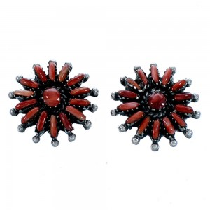 Red Oyster Shell Needlepoint Southwestern Sterling Silver Post Earrings LX113016