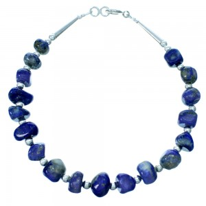 Sterling Silver And Lapis Navajo Bead Bracelet RX113138