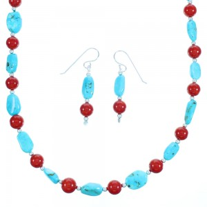 Turquoise Coral Sterling Silver Navajo Bead Necklace RX113201