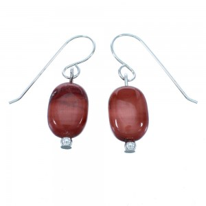 Genuine Sterling Silver Navajo Indian Jasper Bead Hook Dangle Earrings LX113410