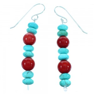 American Indian Coral Turquoise Sterling Silver Bead Hook Dangle Earrings LX113460
