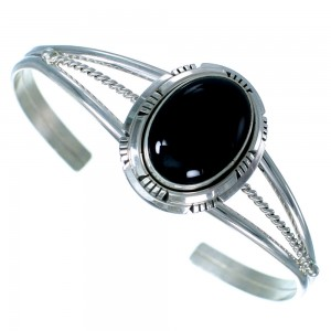 Onyx Sterling Silver Navajo Indian Cuff Bracelet LX113646