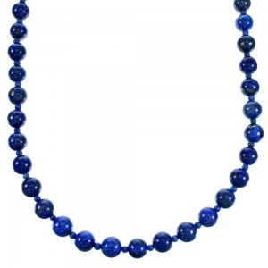 Lapis Authentic Sterling Silver Navajo Bead Necklace RX113627