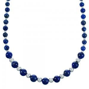 American Indian Lapis And Sterling Silver Bead Necklace RX113628