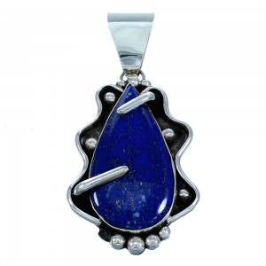 Lapis Sterling Silver Native American Pendant RX113698
