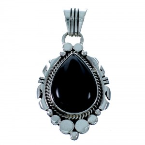 Sterling Silver Navajo Onyx Pendant RX113794
