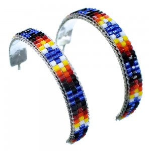 Navajo Genuine Sterling Silver Multicolor Beaded Post Hoop Earrings RX113834