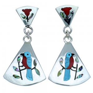 Sterling Silver Blue Bird Zuni Multicolor Post Dangle Earrings RX113902