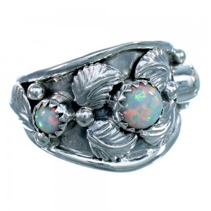American Indian Genuine Sterling Silver Leaf Opal  Ring Size 8  LX113990