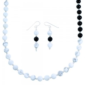 Authentic Sterling Silver American Indian Onyx Howlite Bead Necklace And Earrings LX114022