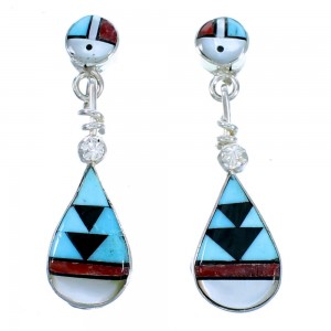 Sterling Silver Zuni Multicolor Inlay Sun Post Dangle Earrings LX114042