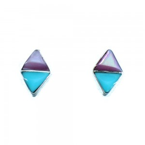 Turquoise Pink Shell Navajo Indian Sterling Silver Post Stud Earrings LX114050