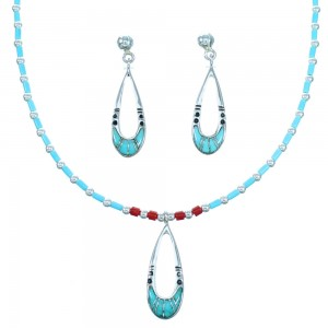 Sterling Silver Turquoise Coral Necklace Earrings Set RX113934
