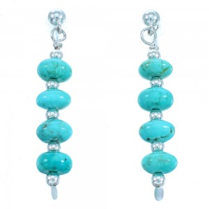 Turquoise Genuine Sterling Silver Bead Post Dangle Earrings RX114092