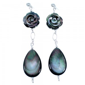 Black Mother of Pearl Flower And Tear Drop Sterling Silver Bead Post Dangle Earrings LX114115