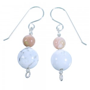 Southwest Pink Opal Agate Howlite Sterling Silver Bead Hook Dangle Earrings LX114133