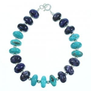 Turquoise And Charoite Sterling Silver Bead Bracelet SX114166