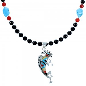 Multicolor Sterling Silver Kokopelli Southwest Bead Necklace Pendant Set RX114173