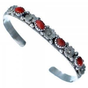 Navajo Sterling Silver Coral Flower Cuff Bracelet SX109271