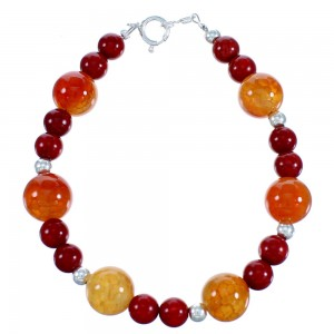 Coral Citrine Sterling Silver Bead Bracelet RX114335