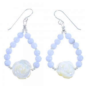 Yellow Mother Of Pearl Flower Rose Sterling Silver Blue Lace Agate Bead Hook Dangle Earrings RX114355