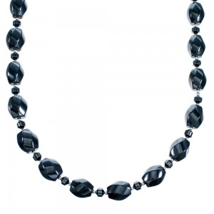 Hematite Genuine Sterling Silver Bead Necklace RX114374