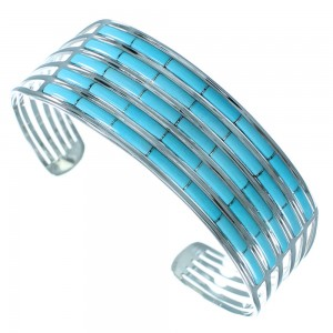Southwest Turquoise Inlay Sterling Silver Cuff Bracelet SX114305