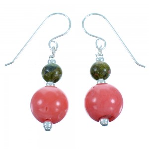 Pink Coral And Unakite Sterling Silver Bead Hook Dangle Earrings SX114368