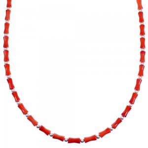 Coral Southwest Sterling Silver Bead Necklace LX114429