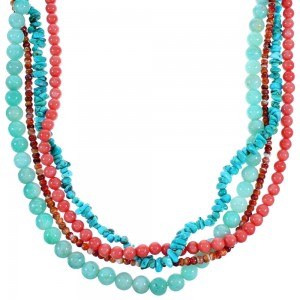 4-Strand Multicolor Sterling Silver Bead Necklace SX114496