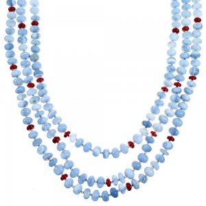 Blue Lace Agate And Coral Sterling Silver 3-Strand Bead Necklace SX114495