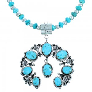 Navajo Turquoise And Sterling Silver Naja Bead Necklace Set SX114489