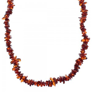 Amber And Sterling Silver Bead Necklace SX114519