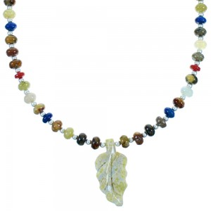 Multicolor And Sterling Silver Leaf Bead Necklace SX114567