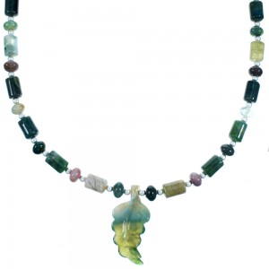 Jasper And New Jade Leaf Sterling Silver Bead Necklace SX114568
