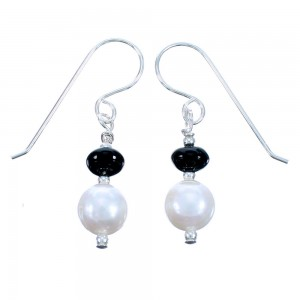 Sterling Silver Onyx And Fresh Water Pearl Hook Dangle Earrings SX114580