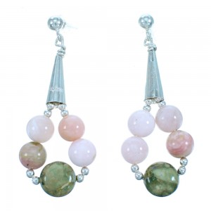 Genuine Sterling Silver Rhyolite And Pink Opal Agate Post Dangle Bead Earrings RX114631