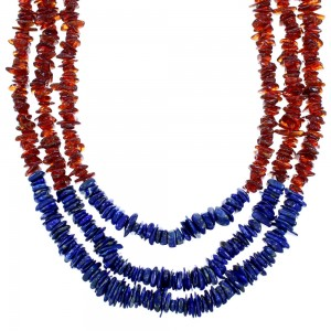 Sterling Silver 3-Strand Amber And Lapis Bead Necklace SX114681