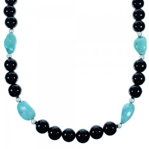 Sterling Silver Onyx And Turquoise Bead Necklace SX114658