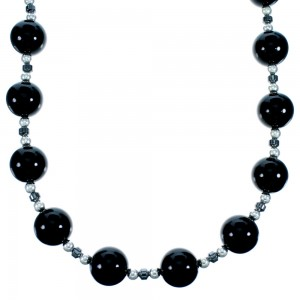 Southwest Sterling Silver Onyx And Hematite Bead Necklace SX114660