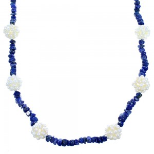 Lapis And Fresh Water Pearl Sterling Silver Bead Necklace SX114656