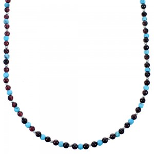 Sterling Silver Turquoise And Garnet Bead Choker Necklace SX114655