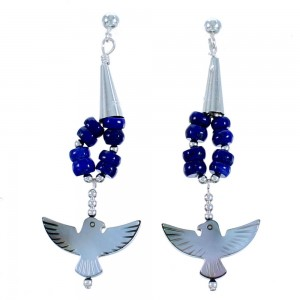 Lapis Black Mother Of Pearl Thunderbird Sterling Silver Post Dangle Bead Earrings RX114692