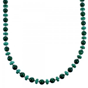 Southwest Malachite Authentic Sterling Silver Bead Necklace RX114721