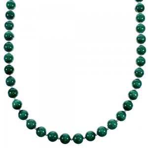Southwestern Malachite Sterling Silver Bead Necklace RX114722