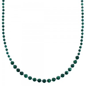 Southwest Malachite Genuine Sterling Silver Bead Necklace RX114724