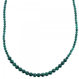 Southwestern Malachite Genuine Sterling Silver Bead Necklace RX114726