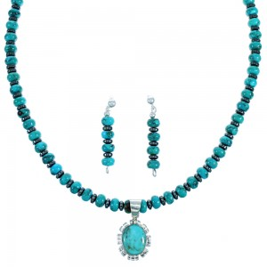 Turquoise Sterling Silver Hematite Bead Necklace Earrings Set RX114857