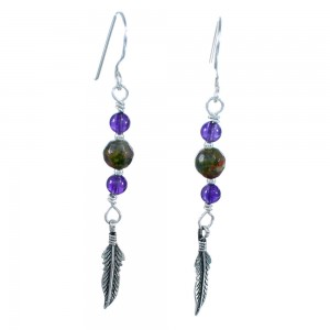 Amethyst Unakite Sterling Silver Feather Hook Dangle Bead Earrings RX114834
