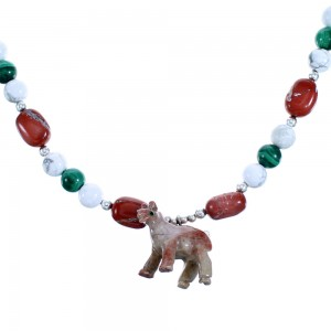Multicolor And Sterling Silver Southwestern Horse Bead Necklace SX114948